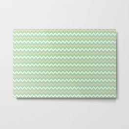 Pastel Green, Beige & Linen White Chevron Line Pattern Pairs to Noe Mint 2020 Color of the Year Metal Print