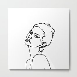 Women face one line drawing - Adel Metal Print