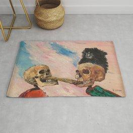 Skeletons Fighting portrait painting by James Ensor Rug