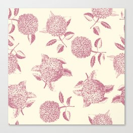 Big lush hydrangea flowers on off-white background seamless pattern. Pale pink. Atemporal, classic. Canvas Print