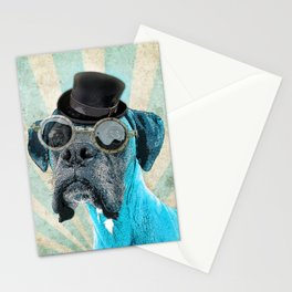 Steampunk Blue Boxer Stationery Cards