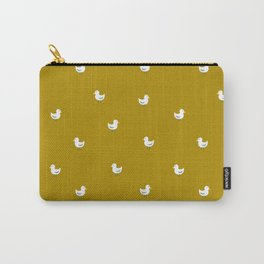 White birds in mustard orange Carry-All Pouch