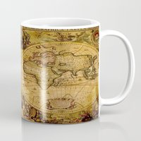 "vintage map Mugs featuring VintaGe Map by ""CVogiatzi."