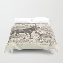Antique Deer Scene in Nature Duvet Cover