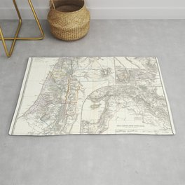Old 1865 Historic State of Palestine Map Rug