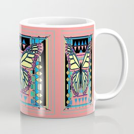 Coral-Pink-Blue, Black-Yellow  Butterfly in American Southwest Art Style Coffee Mug