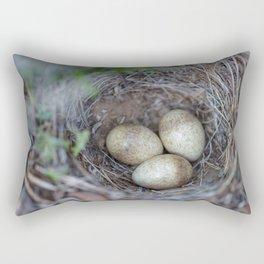 Horned lark nest and eggs - Yellowstone National Park Rectangular Pillow