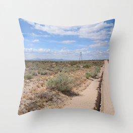 Long Desert Highway Throw Pillow