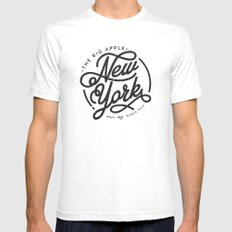 New York - White White SMALL Mens Fitted Tee