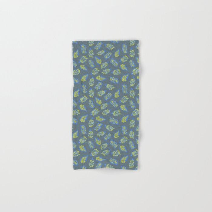 Leaves On Blue Gray Hand Bath Towel