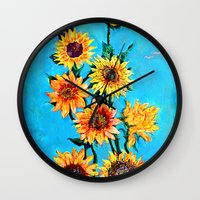 sunshine Wall Clocks featuring SUNSHINE by Jordan Soliz