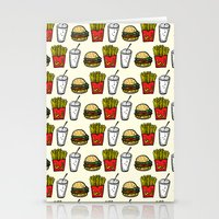 junk food Stationery Cards featuring Junk Food Pattern by mebz art