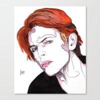 david bowie Canvas Prints featuring David Bowie by Joseph Walrave