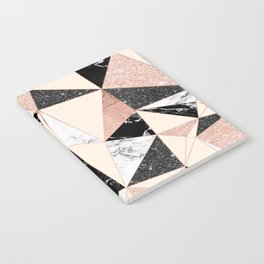 Modern black white marble rose gold glitter foil geometric abstract triangles pattern Notebook