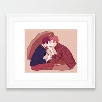 yaoi Framed Art Prints featuring kiss under the umbrella by elvishness