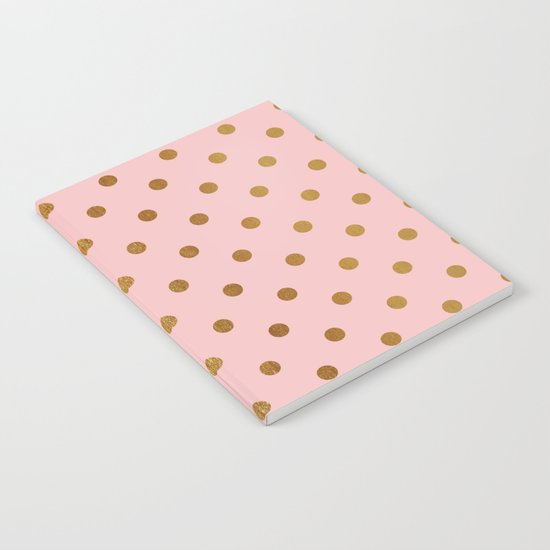 Gold polka dots on rosegold backround - Luxury pink pattern Notebook
