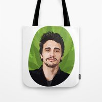 james franco Tote Bags featuring James Franco by WeedPornDaily