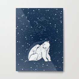 Polar Bear and Constellation Arctic Night Sky Stars Metal Print