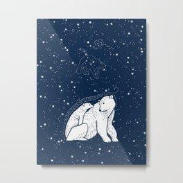 Polar Bear and Constellation Arctic Night Sky Stars Metal Print