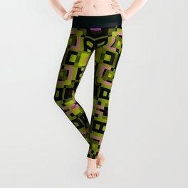 CONTEMPORARY lime green, black, purple abstract geometric design Leggings