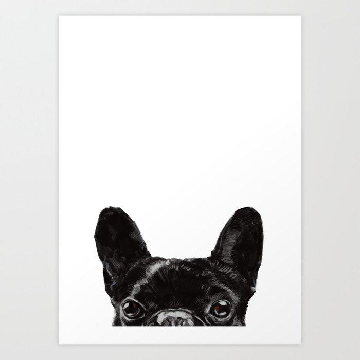 Peeking French Bulldog Art Print