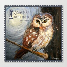 I Love You To The Moon And Back Owl Canvas Print