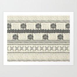 Mud Cloth Geometric Stripe in Cream Art Print
