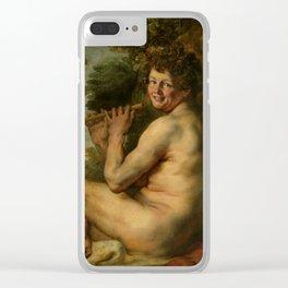 """Jacob Jordaens """"A satyr"""" Clear iPhone Case"""