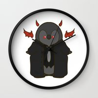 crowley Wall Clocks featuring Crowley Demon Penguin Supernatural by ParallelPenguins