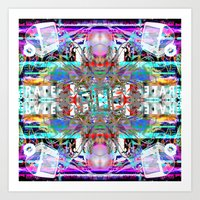 rave Art Prints featuring RATE RAVE by Riot Clothing