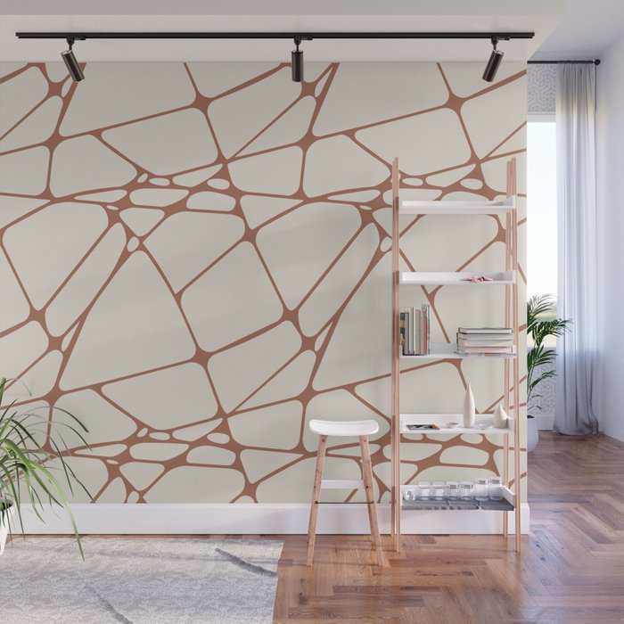 Cavern Clay SW 7701 Abstract Mosaic Pattern 1 on Creamy Off White SW7012 Wall Mural