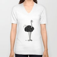 ostrich V-neck T-shirts featuring Ostrich? by Annadiplosis