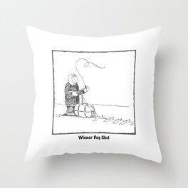 Wiener Dog Sled Throw Pillow