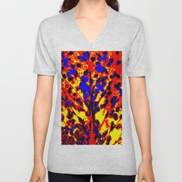 Fire Tree Pop Art Unisex V-Neck
