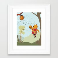 pooh Framed Art Prints featuring Pooh Rose by Jen Hynds