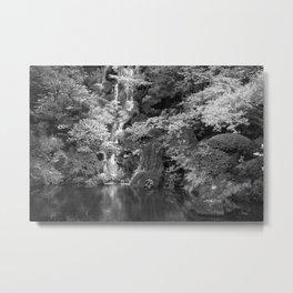 Waterfall in Japanese Zen Garden Metal Print