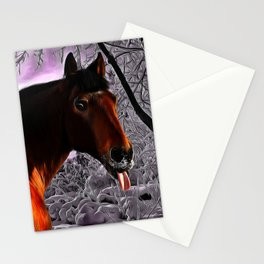 Funny Horse Pokes Out His Tongue Stationery Cards