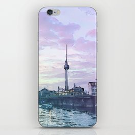 Berlin at Sunset - Illustration - Alexanderplatz - Alex TV Tower iPhone Skin