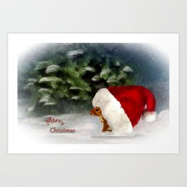 Santa Squirrel Art Print