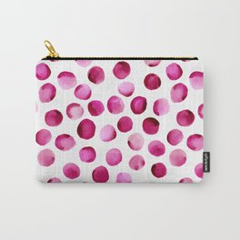 Watercolor Dots // Deep Cerise Carry-All Pouch