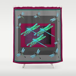 Burgundy-Grey Blue Dragonflies Art Shower Curtain