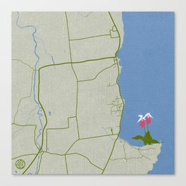 Essex Map with Pink Lady Slipper Canvas Print