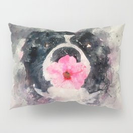 Dog with Flower Pillow Sham