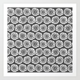 Daisy Floral Pattern Black and White Gray Charcoal Art Print