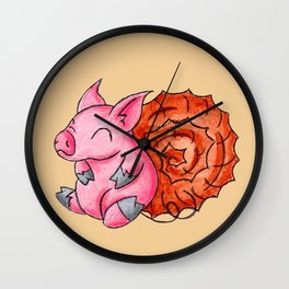 Ammonite Piggy Wall Clock