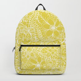 Modern trendy white floral lace hand drawn pattern on meadowlark yellow Backpack
