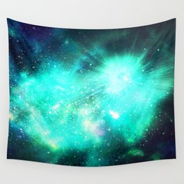 Abstract Nebula #11: Green rays Wall Tapestry