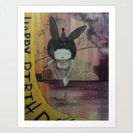 Birthday Bunny Art Print