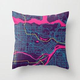 Burnaby Neon City Map, Burnaby Minimalist City Map Art Print Throw Pillow