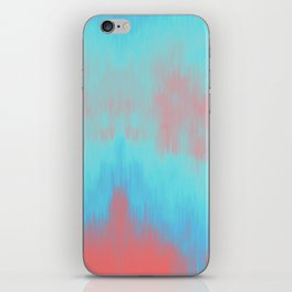 Blue Painting on Living Coral iPhone Skin